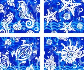 Nautical seamless pattern retro vectors 07