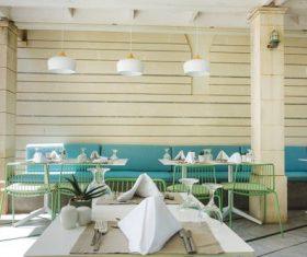 Neatly arranged western restaurant Stock Photo