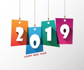 New Year 2019 with colored tags vectors