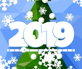 New Year 2019 with snowflake background vector
