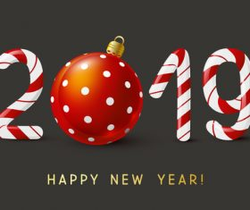 New Year concept with 2019 candy numbers design vector