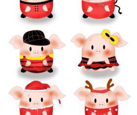 New year piglet elements set illustration vector
