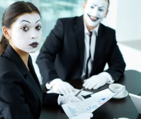 Office staff dressed as a clown Stock Photo 01