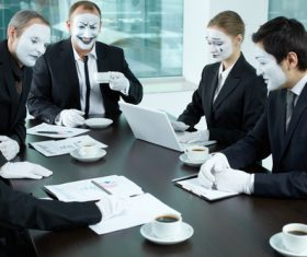 Office staff dressed as a clown Stock Photo 03