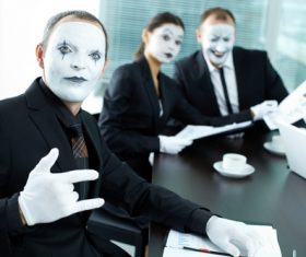Office staff dressed as a clown Stock Photo 05