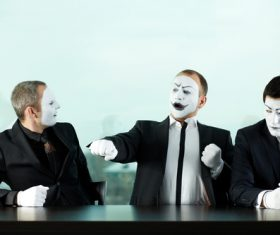Office staff dressed as a clown Stock Photo 06