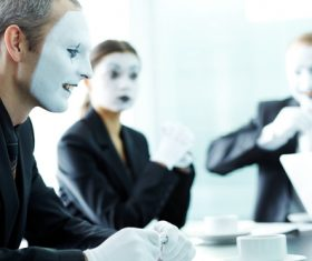 Office staff dressed as a clown Stock Photo 08