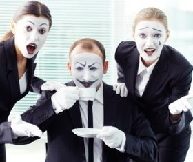 Office staff dressed as a clown Stock Photo 09