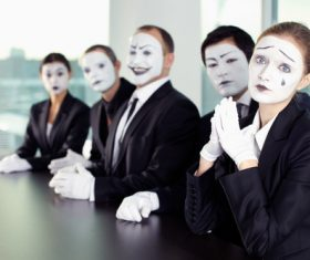 Office staff dressed as a clown Stock Photo 10