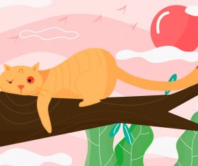 Orange cat resting on the tree vector