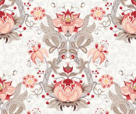 Ornate floral patterns retro vector 02