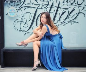 Outdoor beautiful asian female model posing Stock Photo