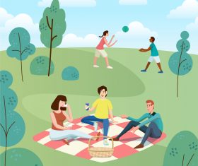 Outdoor picnic vector illustration