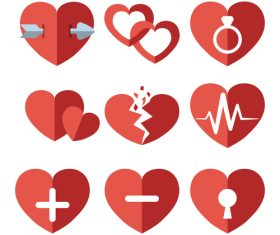 Paper heart icons set