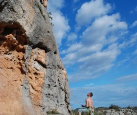 People are rock climbing Stock Photo 06