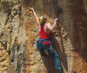 People are rock climbing Stock Photo 07