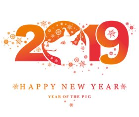 Pig 2019 Happy New Year design vector