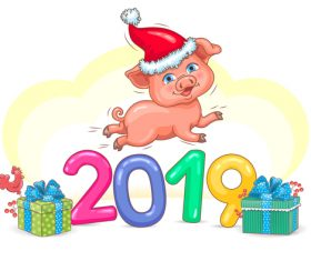Pig Year 2019 cute vector