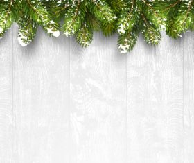 Pine with wooden ball christmas background vector