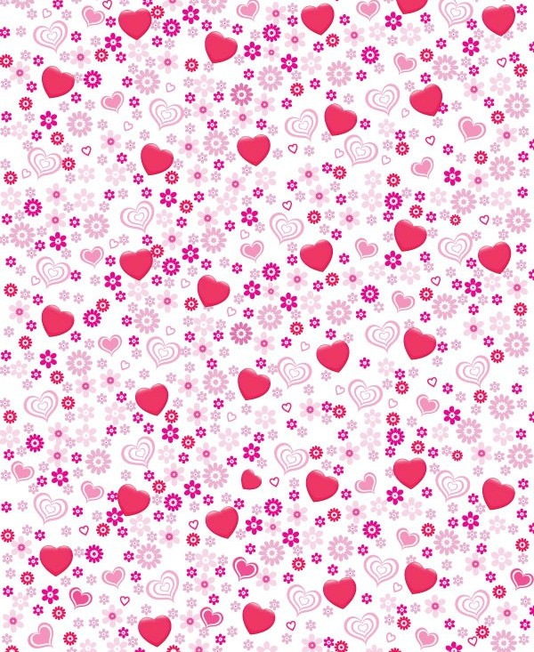 Pink heart-shaped flower background vector