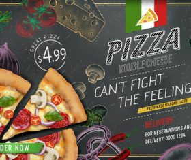 Pizza advertising template with blackboard vector 01