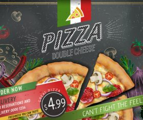 Pizza advertising template with blackboard vector 02
