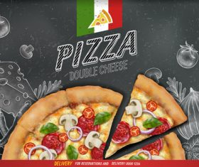 Pizza advertising template with blackboard vector 03