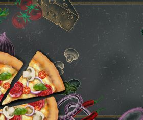 Pizza advertising template with blackboard vector 04