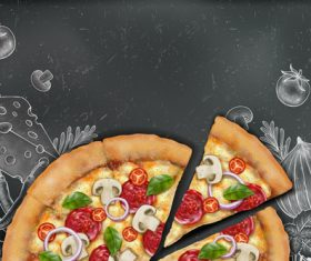 Pizza advertising template with blackboard vector 05