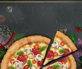 Pizza advertising template with blackboard vector 06