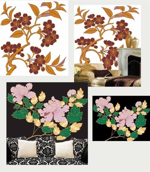 Plant flower mural vector