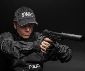 Police weapon training Stock Photo 01