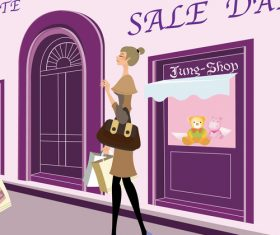 Promotional shopping fashion girl vector illustration