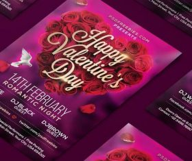 Purple Valentines Day Flyer PSD Template