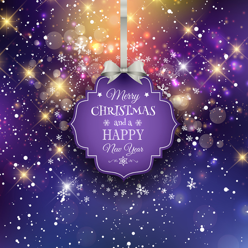 Purple christmas labels with pruple new year background vector