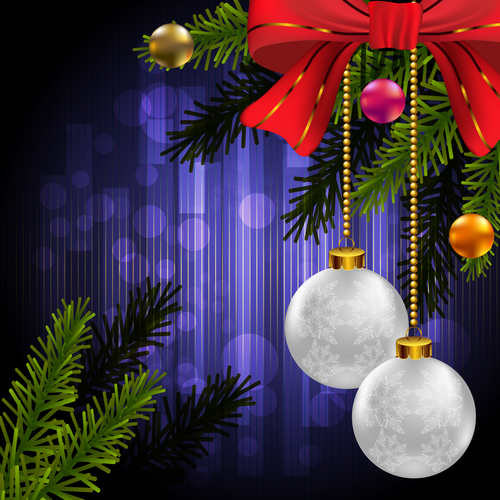 Purple new year background with christmas baubles decor vector