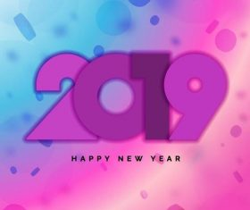 Purple with blue 2019 new year background vector