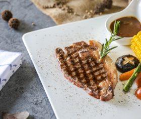 Put dish steak Stock Photo 06