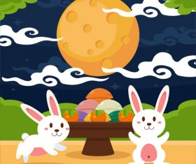 Rabbit and moon cartoon vector illustration