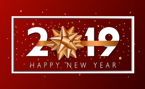 Red 2019 new year background with golden bows vector
