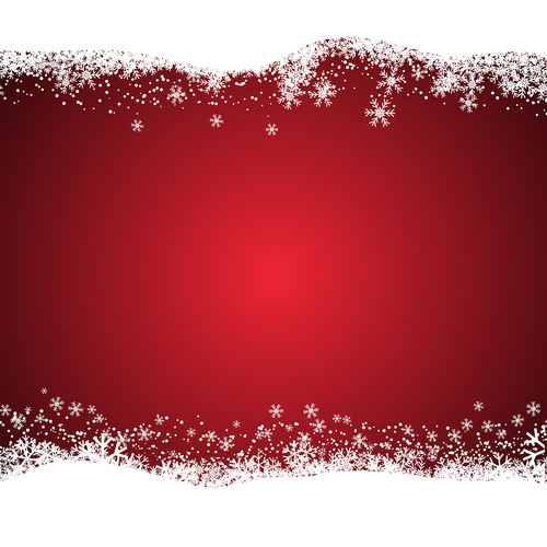 Red background with christmas snow border vector