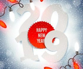 Red bulb with 2019 new year snowflake background vector