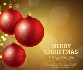 Red christmas ball decor with shiny brown background vector