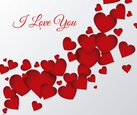Red heart with white valentines background vector