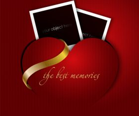 Red valentine card with photo vector graphic