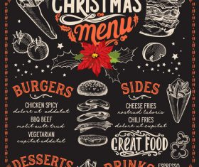 Restaurant christmas menu black template vectors 01