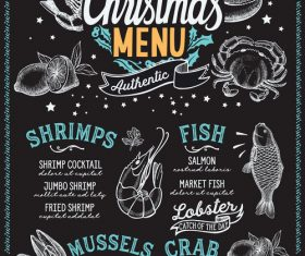 Restaurant christmas menu black template vectors 03