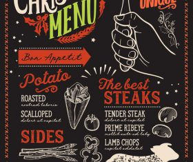 Restaurant christmas menu black template vectors 05