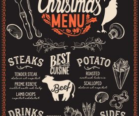 Restaurant christmas menu black template vectors 06