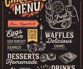 Restaurant christmas menu black template vectors 09